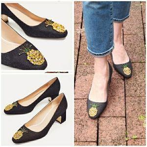 Zara black chunky heel rhinestone pineapple heels
